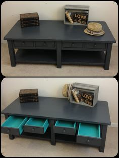 painted coffee table idea - dark outside w/ brighter inside and shelves
