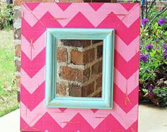 Super Cute for Girls Room, Distressed Chevron Picture Frame in Fun Pinks and Light Turquoise