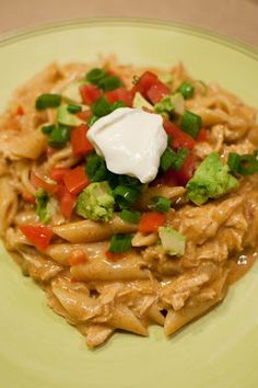 Recipes, Dinner Ideas, Healthy Recipes & Food Guide: Chicken Enchilada Pasta- I'm going to sub Greek yogurt for the sour cream and use whole wheat pasta! Yum!