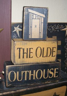OLDE OUTHOUSE PRIMITIVE BLOCK SIGN SIGNS