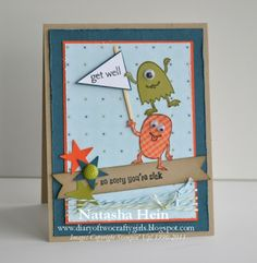 monster card, card idea, stamp sets, boy cards, diaries, make a monster stampin up, monsters, kid card, card kid