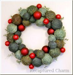 christmas wreaths, holiday wreaths, ball, xmas ornaments, red christmas, holiday crafts, christmas ornaments, diy christmas decorations, yarn wreaths