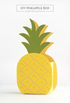 silhouett shape, gift boxes, silhouett cameo, pineappl box, diy pineappl