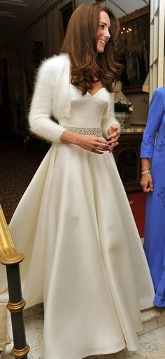 A white angora bolero is as romantic as cardigans come, and nothing would be more fitting for a Duchess on her wedding day. The Duchess of Cambridge opted for precisely this as an accompaniment to her second Alexander McQueen dress on her big day.