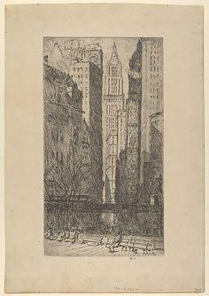 Childe Hassam (American, Dorchester, Massachusetts 1859–1935. Battery Park, 1916. The Metropolitan Museum of Art, New York. Gift of Bern K. Bullard, Jr., 1953 (53.649.2) #newyork #nyc