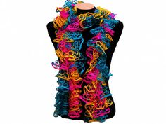 Hand knitted PinkTurquoise Yellow ruffled scarf by Arzus on Etsy, $19.90