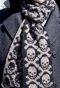 double-knit skulls, skull scarf