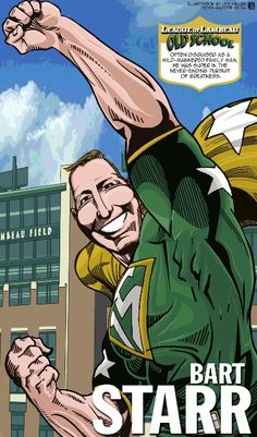 Bart Starr in The League of Lambeau by Green Bay Press-Gazette Media editorial cartoonist Joe Heller.  The 2013 iconic Green Bay Packers caricatures look back at the storied history of the NFL's oldest franchise. See them all at http://www.packersnews.com/section/PKR0601?odyssey=refresh #packers #nfl #vintage #lambeaufield
