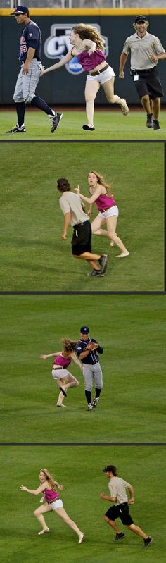 the second picture is great cuz its like she's telling the guy to hold on a sec, I've got to go touch this guy's butt