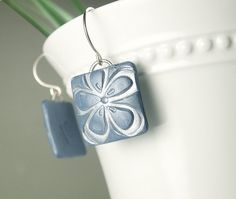 Lightweight blue square flower polymer clay earrings