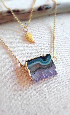 Amethyst Slice Necklace Amethyst Necklace Gemstone