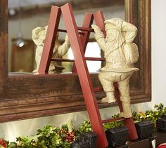 Carved Wood Santa on Ladder #potterybarn