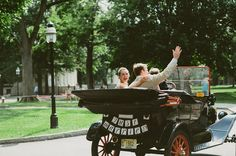 these two exited their ceremony in a vintage car