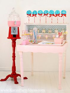Make a beverage dispenser for a candyland birthday party out of a gumball machine! See how to make the gumball beverage dispenser and more candyland party items on KarasPartyIdeas.com