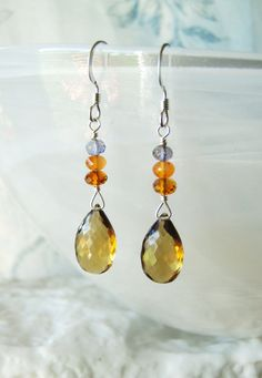 Beer quartz earrings with citrine carnelian and by oneoffcreations, $26.00