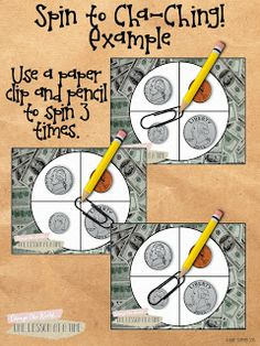 Here's a fun game to practice coin counting. Includes recording sheets.