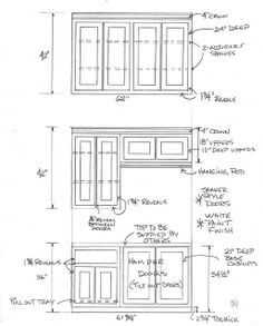 Custom laundry room cabinet project for Terry Ruppe in Katy, TX.  (design by Tony Tripoli)  This one drawing shows the upper cabinets (above the washer & dryer) at the top... and then upper & lower cabinets that go on the opposite wall (at the bottom).  These were standard paint grade, overlay, flat panel / Shaker style doors with tilt-out laundry hampers.  (drawing by Tony Tripoli / Custom Cabinets Houston)