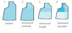 """good tutorial--Generally, though, for each size smaller take off:    1/2"""" of the chest (which is 1/4"""" off a pattern that is cut on a fold)  1/8"""" of armhole   1/8"""" of the shoulder  2"""" of length"""