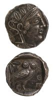 "Silver tetradrachm coin with Athena, the Goddess of wisdom on one side, an owl with inscriptions on the other.  Size: 1""  Date: 400 BC"