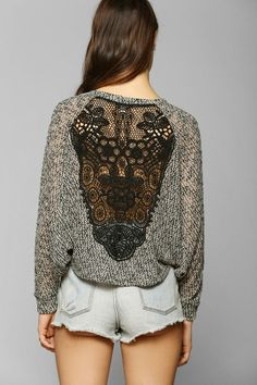 Staring At Stars Crochet-Inset Sweater #urbanoutfitters