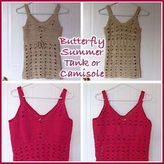 Crochet Butterfly Summer Tank Top, http://crochetjewel.com/?p=10596