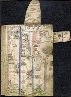Erik Kwakkel @erik_kwakkel  Medieval map with two built-in detours, one leading to Rome (Matthew Paris, Royal 14 C. vii, c1350).