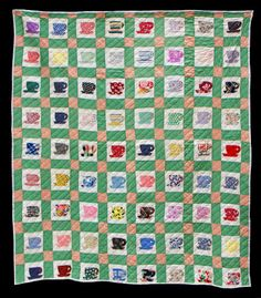 Unknown Quilt Maker Collected in Arizona 70 x 74 inches Circa 1960 Cottons   72 Cups of Tea ... and ... Fabric