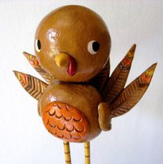 Tom the Turkey  Thanksgiving Paperclay Art by PigAndPumpkin, $55.00
