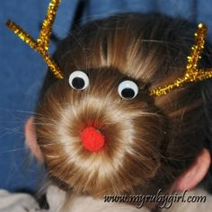 Reindeer Buns - Fun for an ugly sweater party! christmas parties, bun hairstyles, reindeer bun, holiday hair, ugly christmas sweater ideas, christmas sweaters, sweater parti, ugli sweater, kid