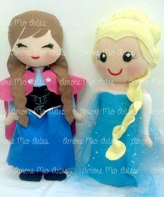 Novas princesas Elsa e Anna de frozen em feltro, modelo exclusivo by Amore Mio. Em feltro , 100% feito a mão com enchimento anti alérgico. * O valor se refere a cada boneca. * Tamanho: 42cm aproximadamente. * Para outros personagens da turminha, consultar o vendedor. R$ 45,00