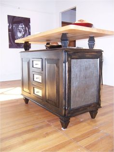 photos dresser butcher block top | Sided Kitchen Island Cabinet With Butcher Block Top