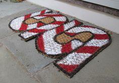 DIY Candy Cane Doormat!