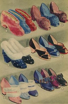 1940s fashion... Peep-toe slippers in the 1942 Spiegel Catalog slippers, fashion shoes, peepto shoe, 1940s fashion, ladi fashion, pumps, toes, vintag shoe, vintage inspired