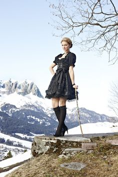 Love love love!!! So immensely stylish! Wolfgang Joop für Galeria Kaufhof. #black #dirndl #dress #German #Austrian #folk #traditional #costume #Oktoberfest