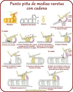 Ganchilo - Punto piña de medias varetas con cadena-puff stitch