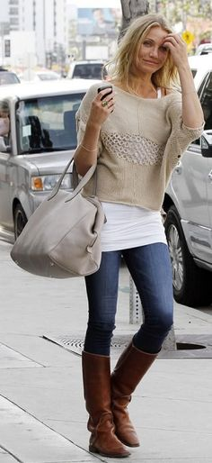 fall fashions, tall boots, casual fall, fall outfits, casual looks, brown boots, oversized sweaters, fall styles, cameron diaz