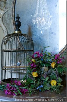 beauti birdcag, vignett, bird cage, birdcag decor, accessories, antiqu birdcag, flower, antiques, country homes