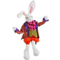 "RAZ 20"" Whimsical Posable Bunny Easter Decoration - bright and colorful! www.trendytree.com"