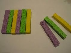 Use sponge strips to create patterns, shapes, etc