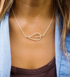 Hammered Silver Open Leaf Necklace