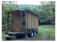 """""""Newly Built Rustic Tiny Cabin on Wheels"""" Build one like this some day but with the inside set up for tailgating! We'll call it Yosef's lodge."""