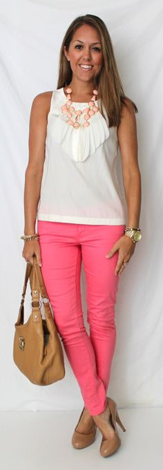 Jeans: Limited, Top: Banana Republic, Necklace: H, Shoes: Colin Stuart c/o MJR Sales, Purse: Calvin Klein/TJ Maxx everyday fashion, style, pink jean, pink pants, fashion blogs, summer outfits, jean outfits, js everyday, colored jeans