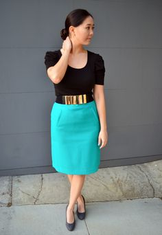 Great skirt for a summer work day gold belt, color, work outfits, casual skirt