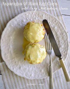 Asparagus and Ham Egg Cups with Easy Hollandaise Sauce