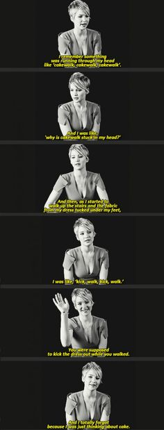 Jennifer Lawrence talks about her fall at the Oscars.  One of the absolute best women for girls to idolize.
