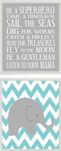 Baby Boy Name Elephant Chevron Gray Wall Art