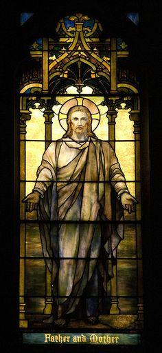 Deptiction of Christ, Detail of South Window. Christ. Reid Memorial Presbyterian Church in Richmond, IN