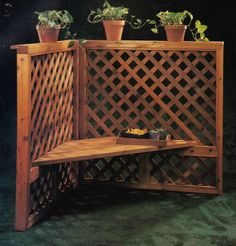 Trellis seat helps to create a warm, inviting outdoor living space. Design: Black  Decker. If interested, please ask for a free quote on this item. We'd love to build it for you.