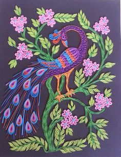 Quilled Peacock (Inspired by an embroidery design) by Asha's Hand Made Creations