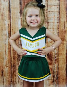 How fun would it be for your little one to be able to cheer for #Baylor in this awesome green and gold cheerleading uniform? #BaylorProud